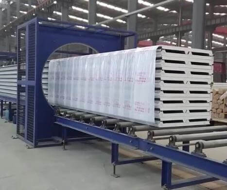 Stretch wrap machine for packing MDF bundle, sandwich panel, XPS boards...