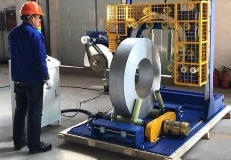 metal coil wrapping machine made by Emanpack