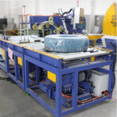automatic horizontal hose coil wrapping line