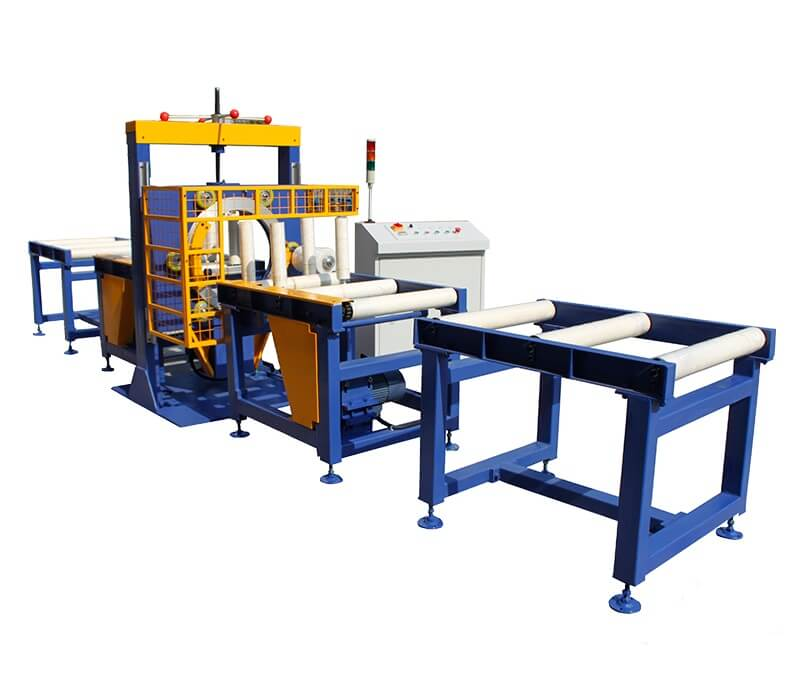 Orbital stretch wrapper packing aluminum extrusions
